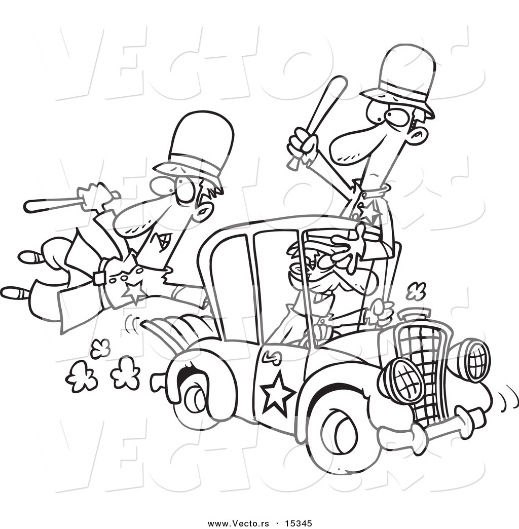 vector of a cartoon thief stealing a police car coloring page