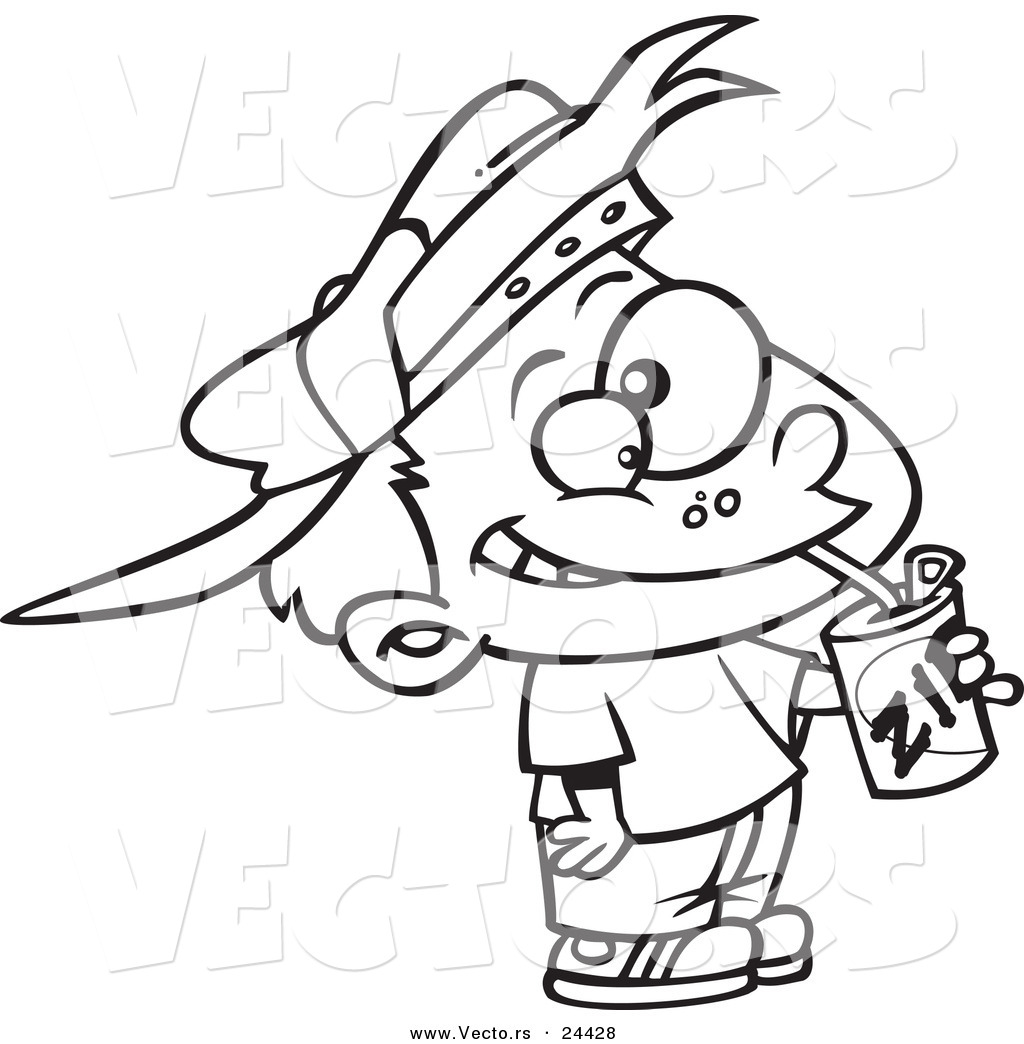 Vector of a Cartoon Thirsty Boy Drinking a Soda - Outlined Coloring Page