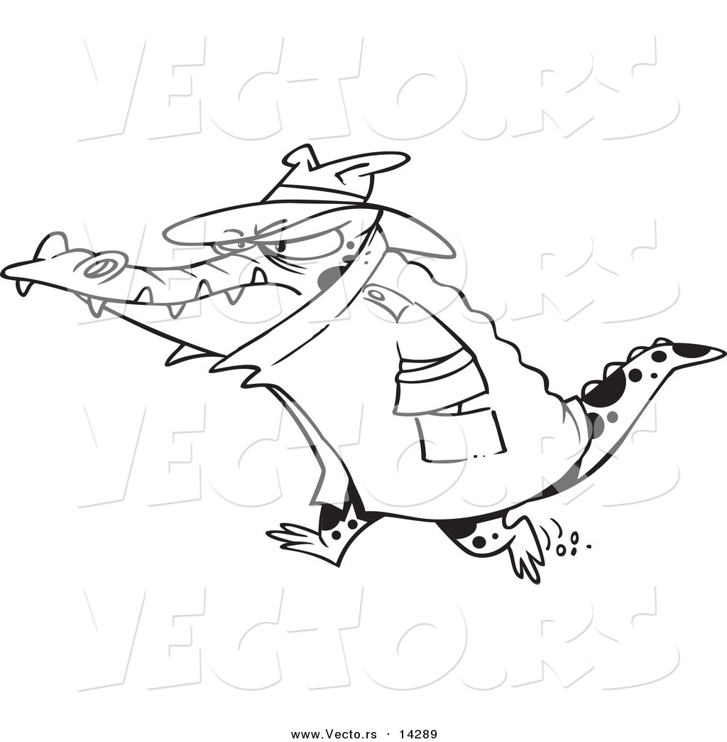 vector of a cartoon thug crocodile in a hat and coat coloring page outline