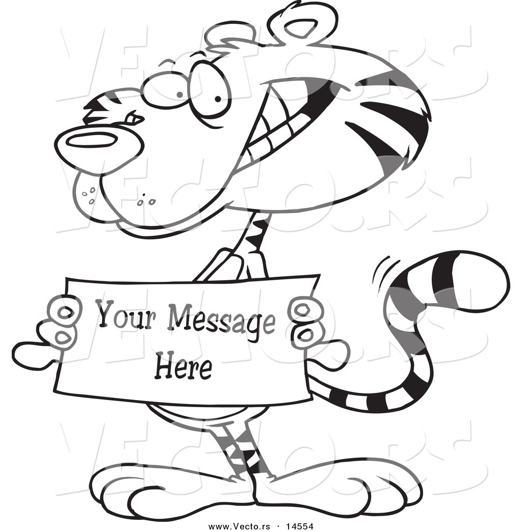 Vector of a Cartoon Tiger Holding a Sign with Sample Text