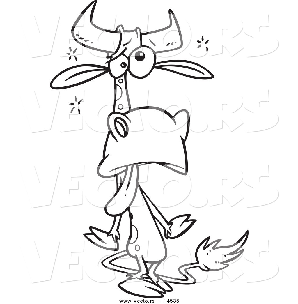 Vector of a Cartoon Tired Cow - Coloring Page Outline by toonaday ...