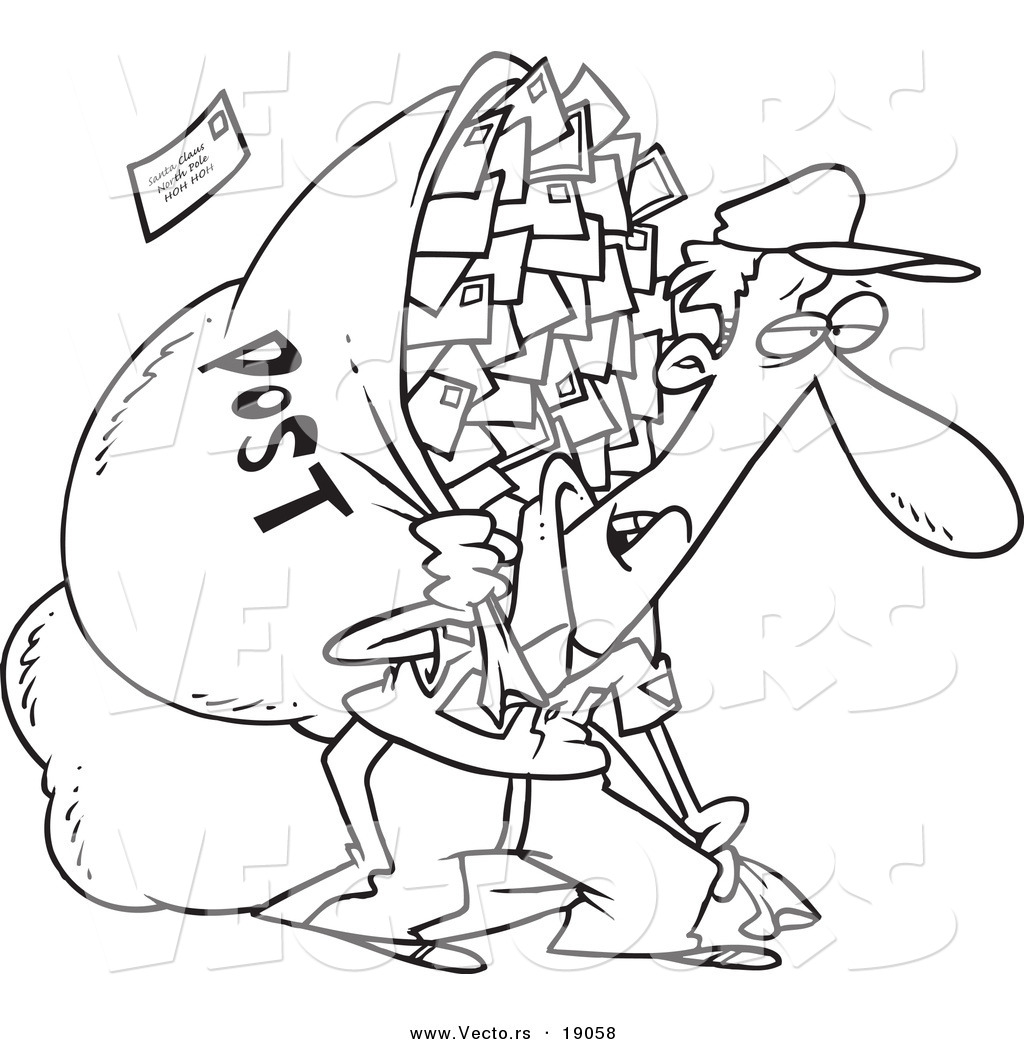 Free coloring pages by mail - Vector Of A Cartoon Tired Mail Man Carrying A Big Bag Outlined Coloring Page