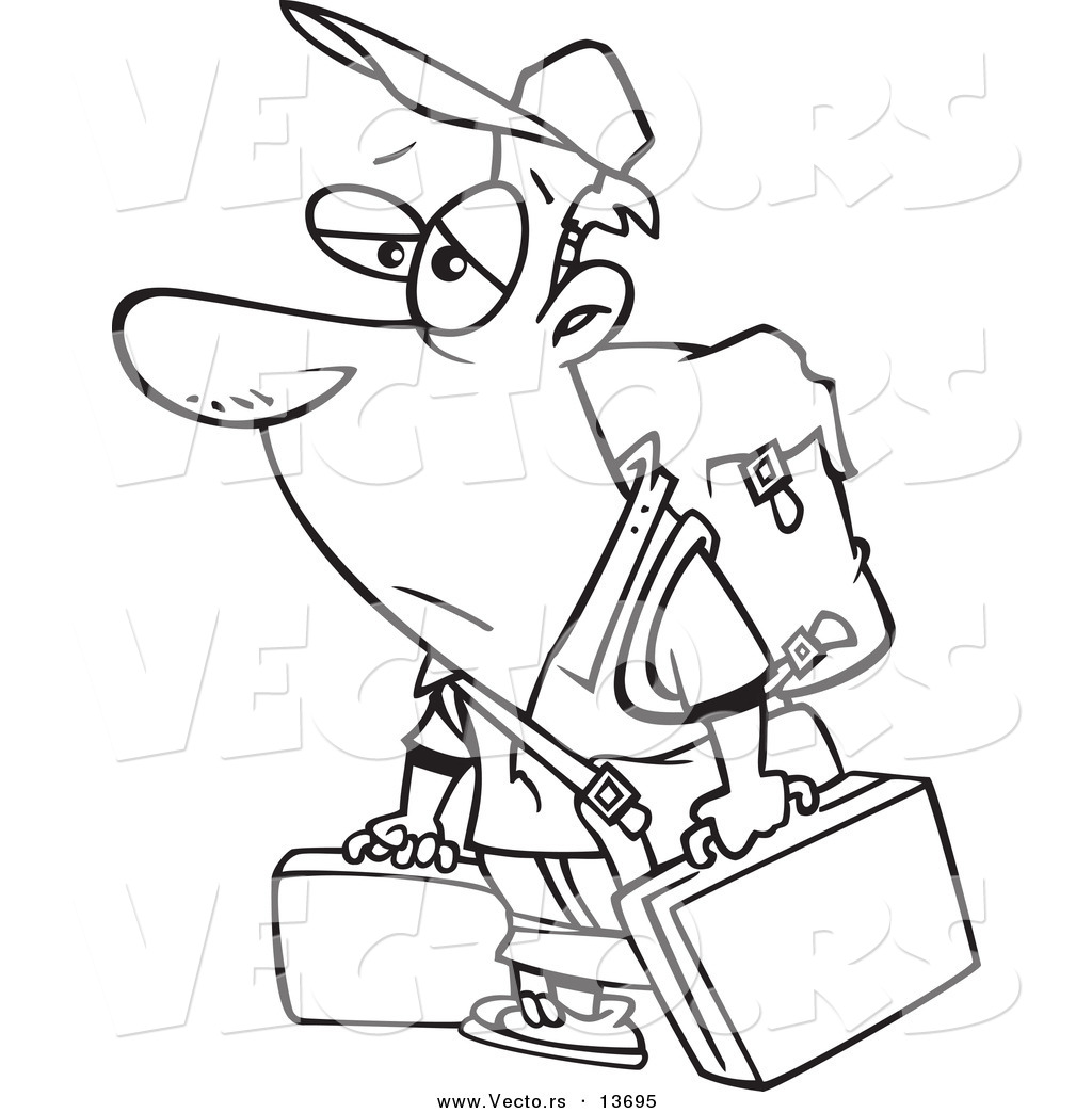 vector of a cartoon tired male traveler carrying luggage