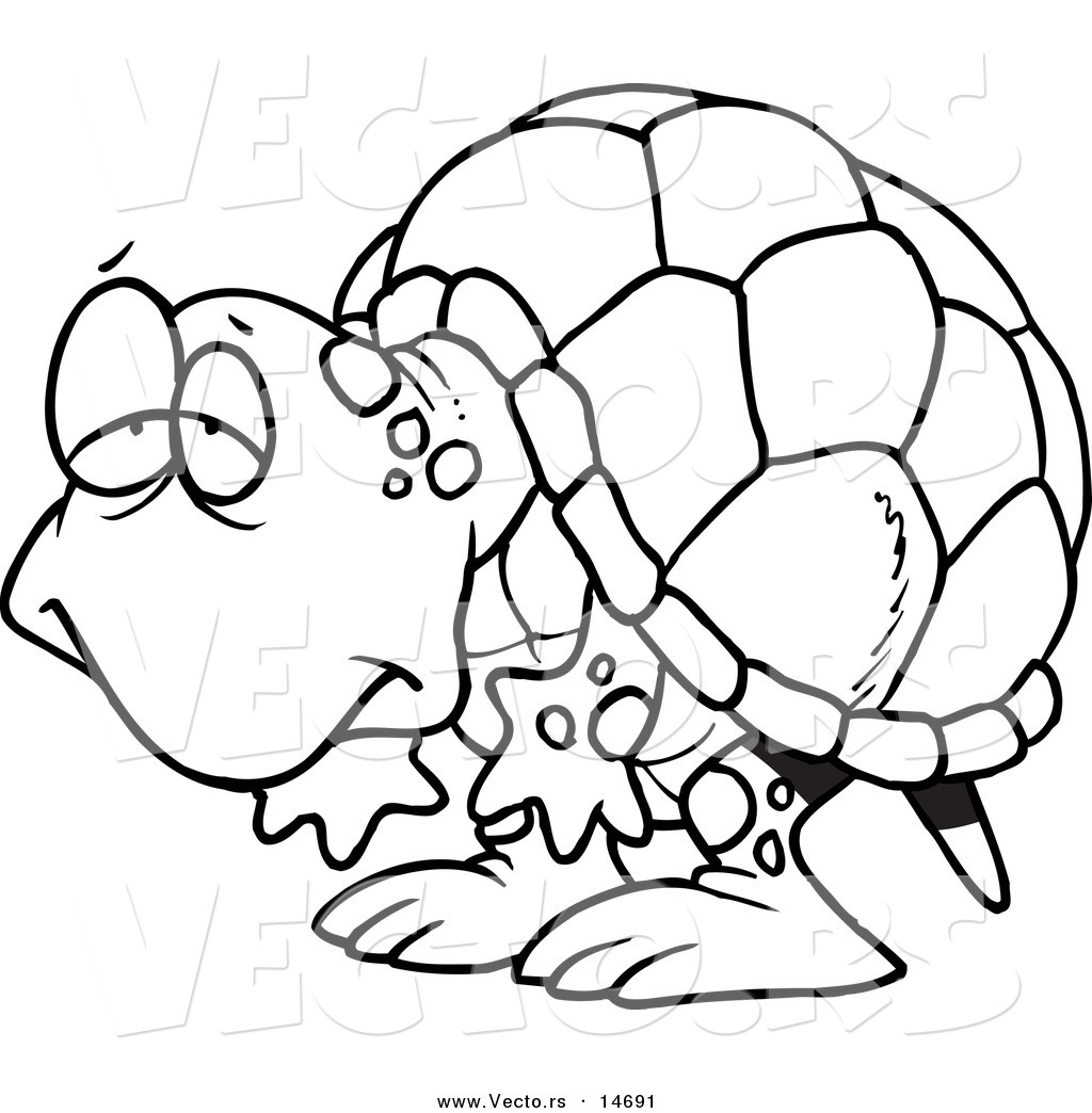 Vector of a Cartoon Tired Old Tortoise - Coloring Page Outline by ...