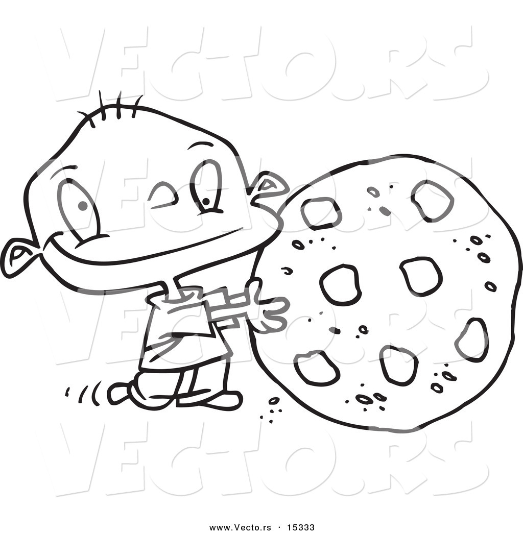 Vector of a cartoon toddler rolling a large chocolate chip cookie coloring page outline