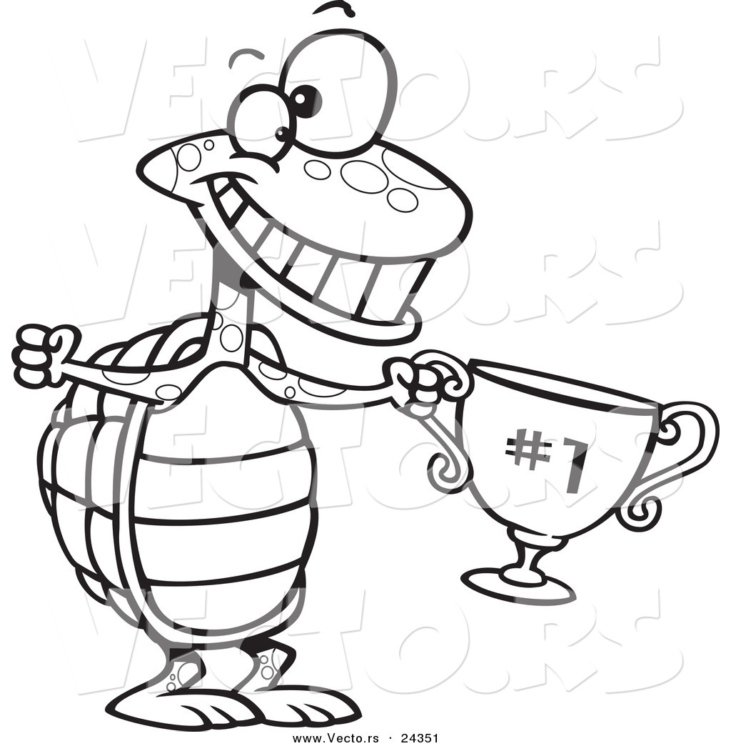Uncategorized Tortoise And The Hare Coloring Page vector of a cartoon tortoise champ with trophy outlined coloring page