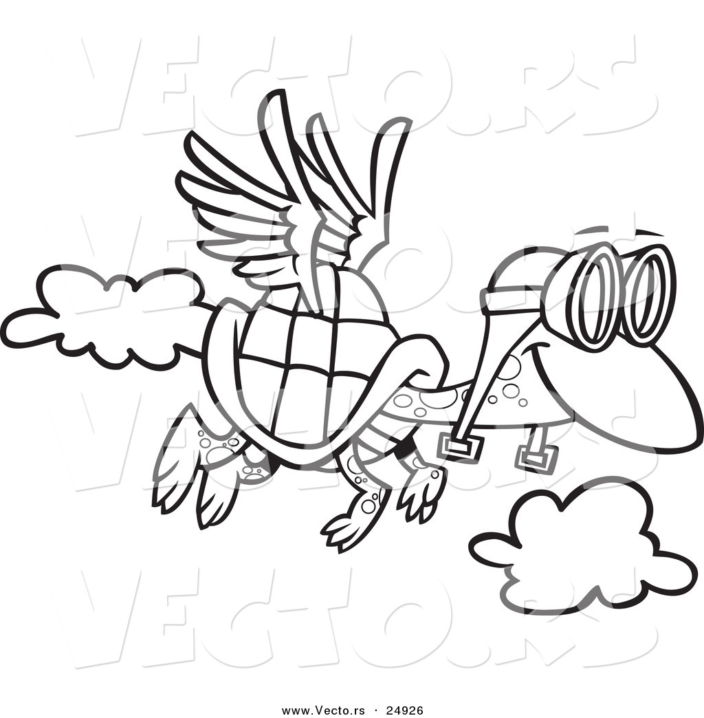 vector of a cartoon tortoise flying with pilot goggles outlined