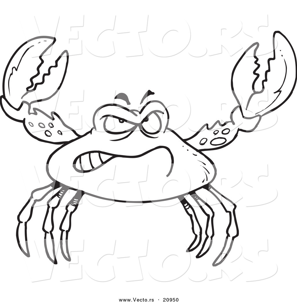 Vector of a Cartoon Tough Crab Coloring Page Outline by toonaday