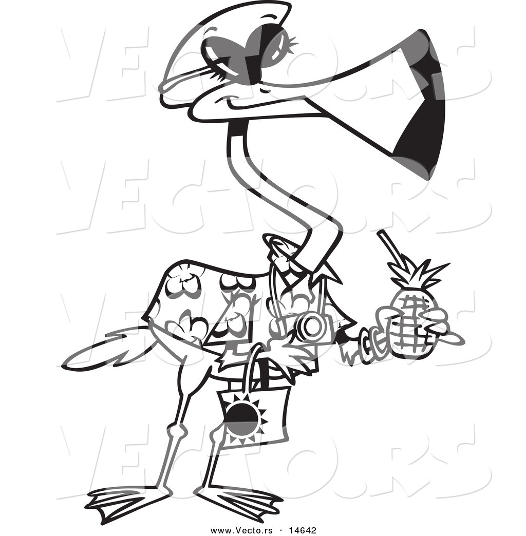 vector of a cartoon tourist flamingo carrying a tropical beverage