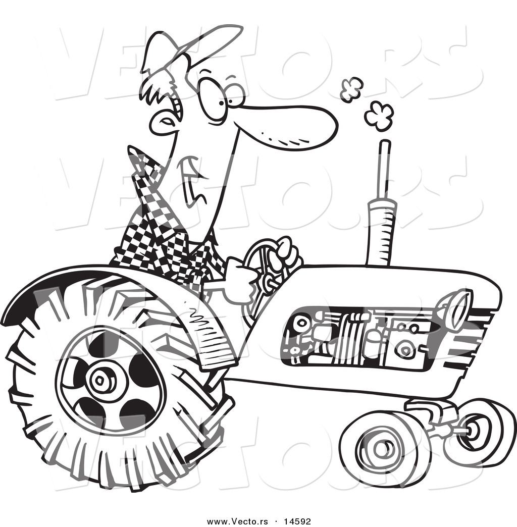 vector of a cartoon tractor driver coloring page outline by