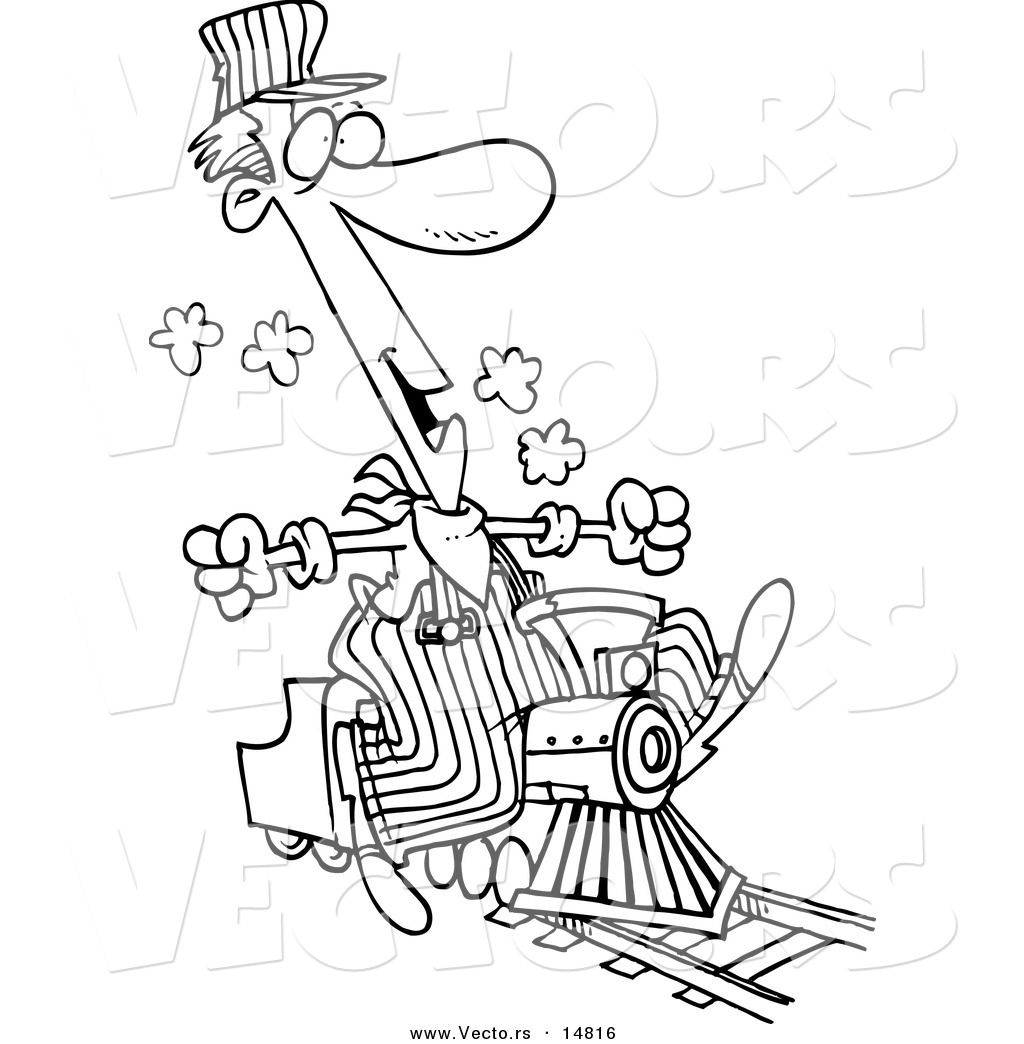 vector of a cartoon train engineer riding a small locomotive