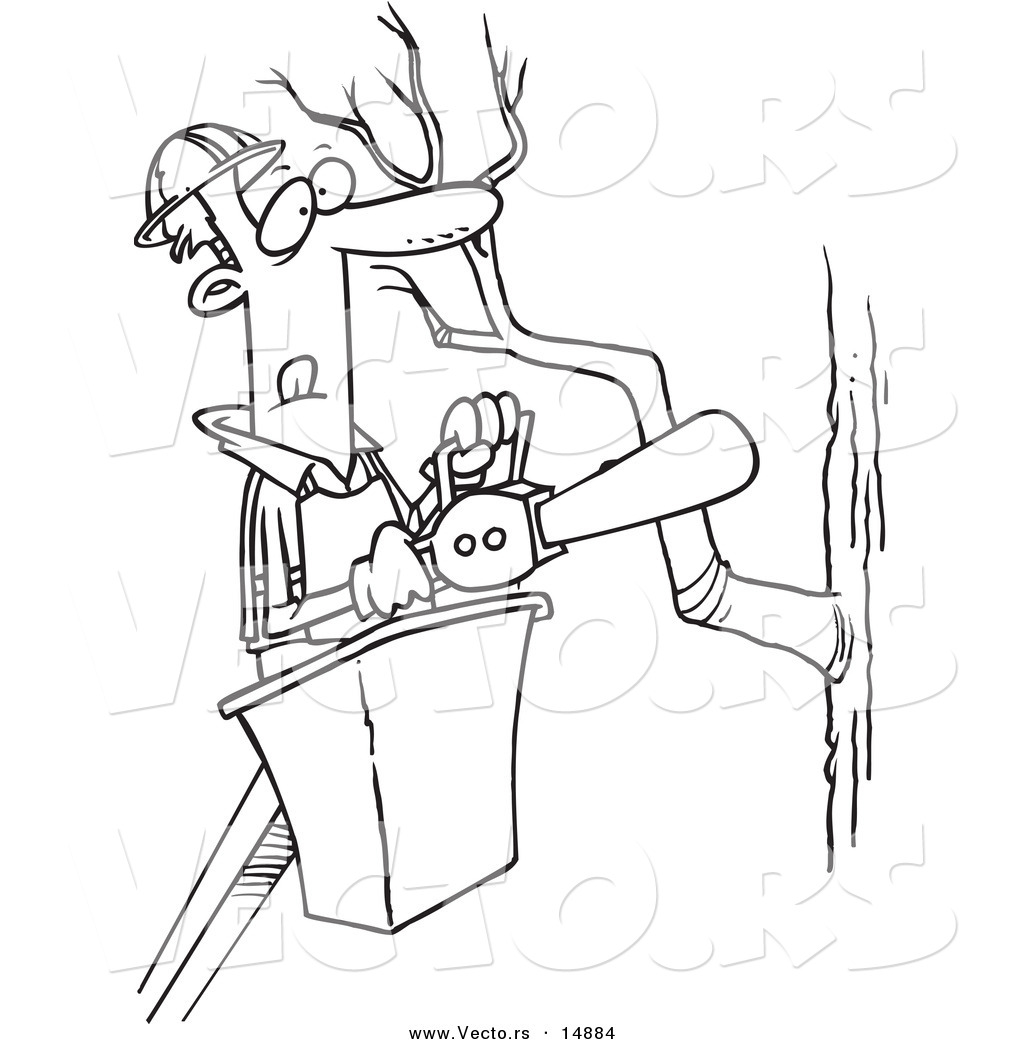 Vector of a cartoon tree trimmer holding a saw coloring for Chainsaw coloring pages