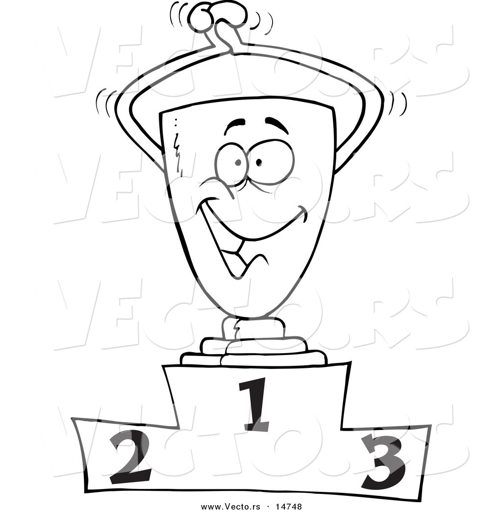 Vector Of A Cartoon Trophy On The First Place Podium