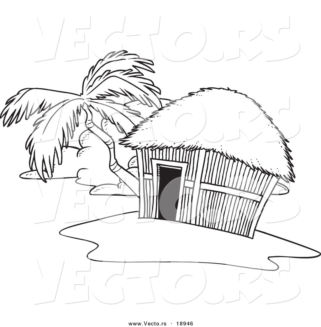 Vector Of A Cartoon Tropical Hut On An Island Outlined Coloring Tropical Coloring Pages