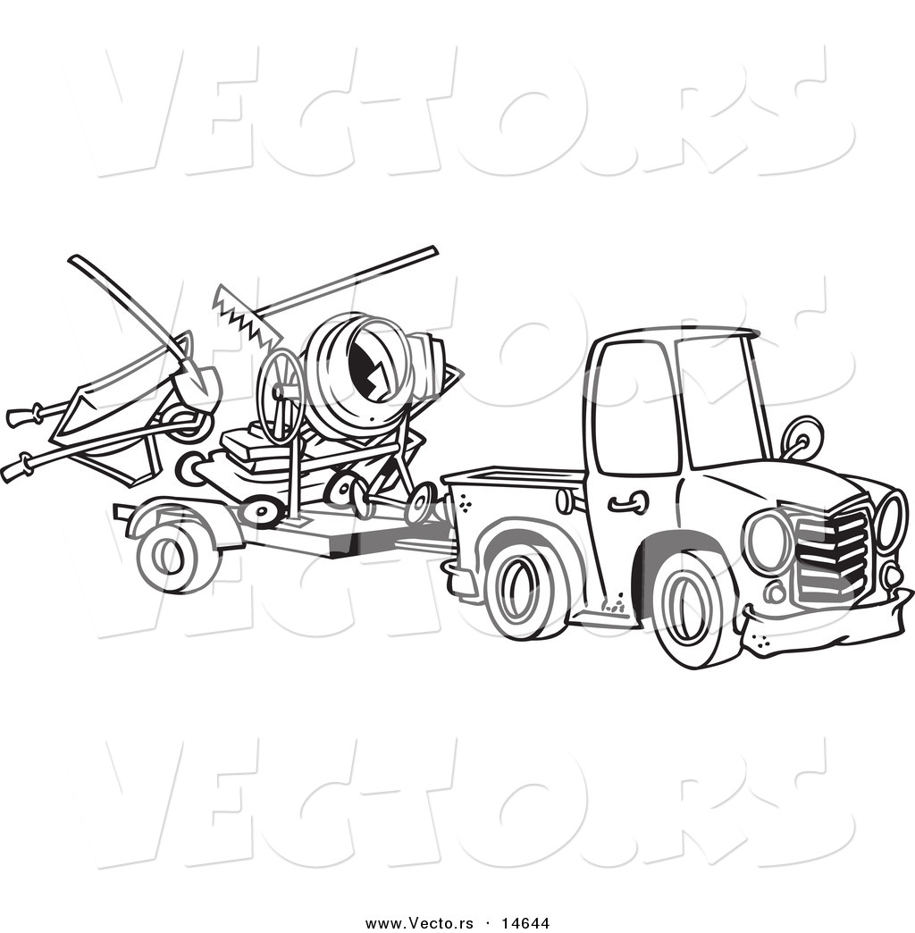 Uncategorized Coloring Pages Of Trucks And Trailers vector of a cartoon truck pulling trailer with landscape and concrete equipment coloring page