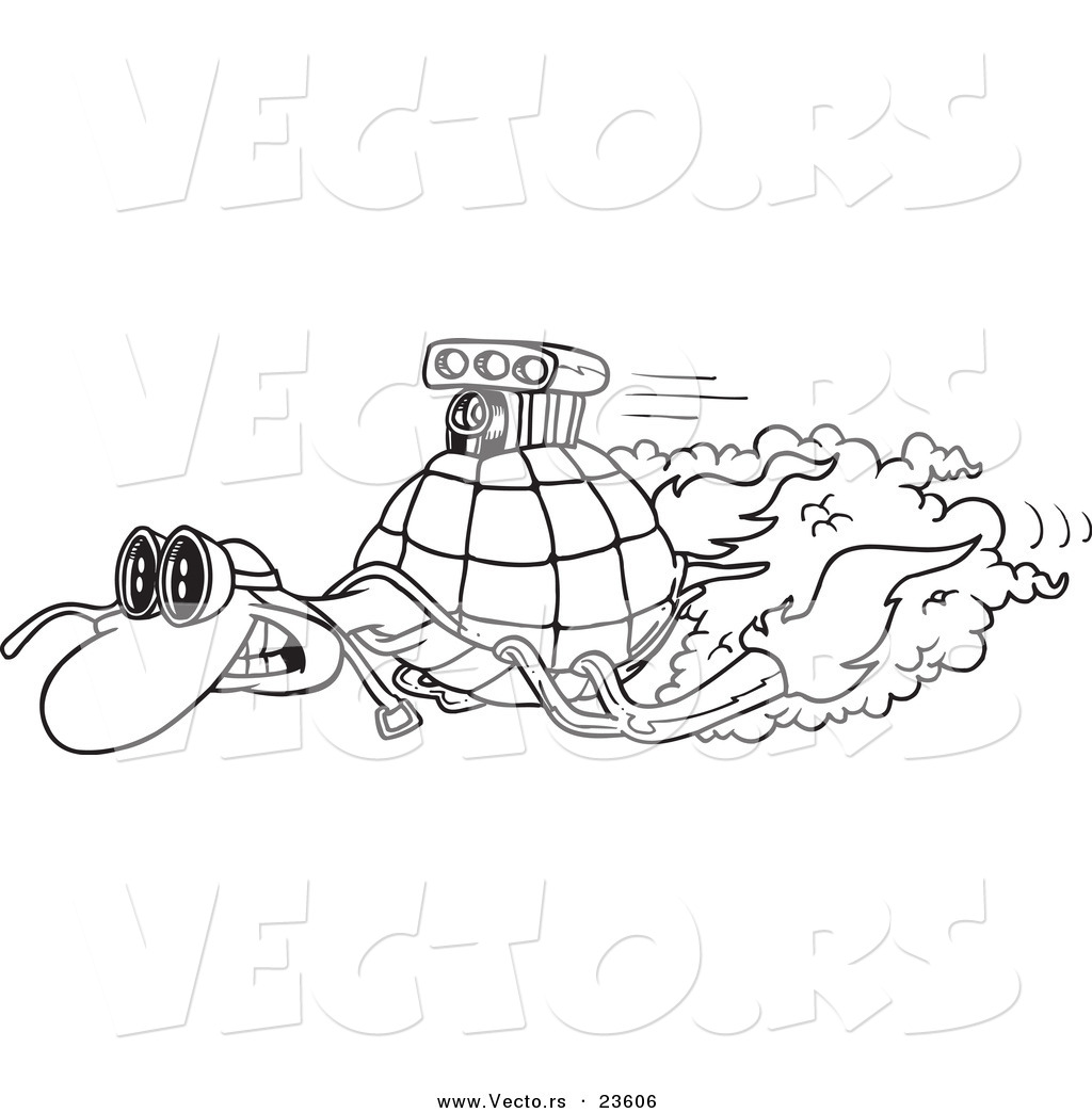 Vector of a Cartoon Turbo Tortoise Coloring Page Outline by