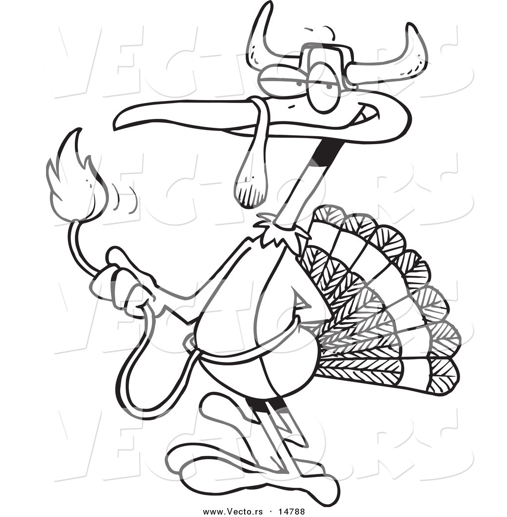 vector of a cartoon turkey bird disguised as a bull coloring