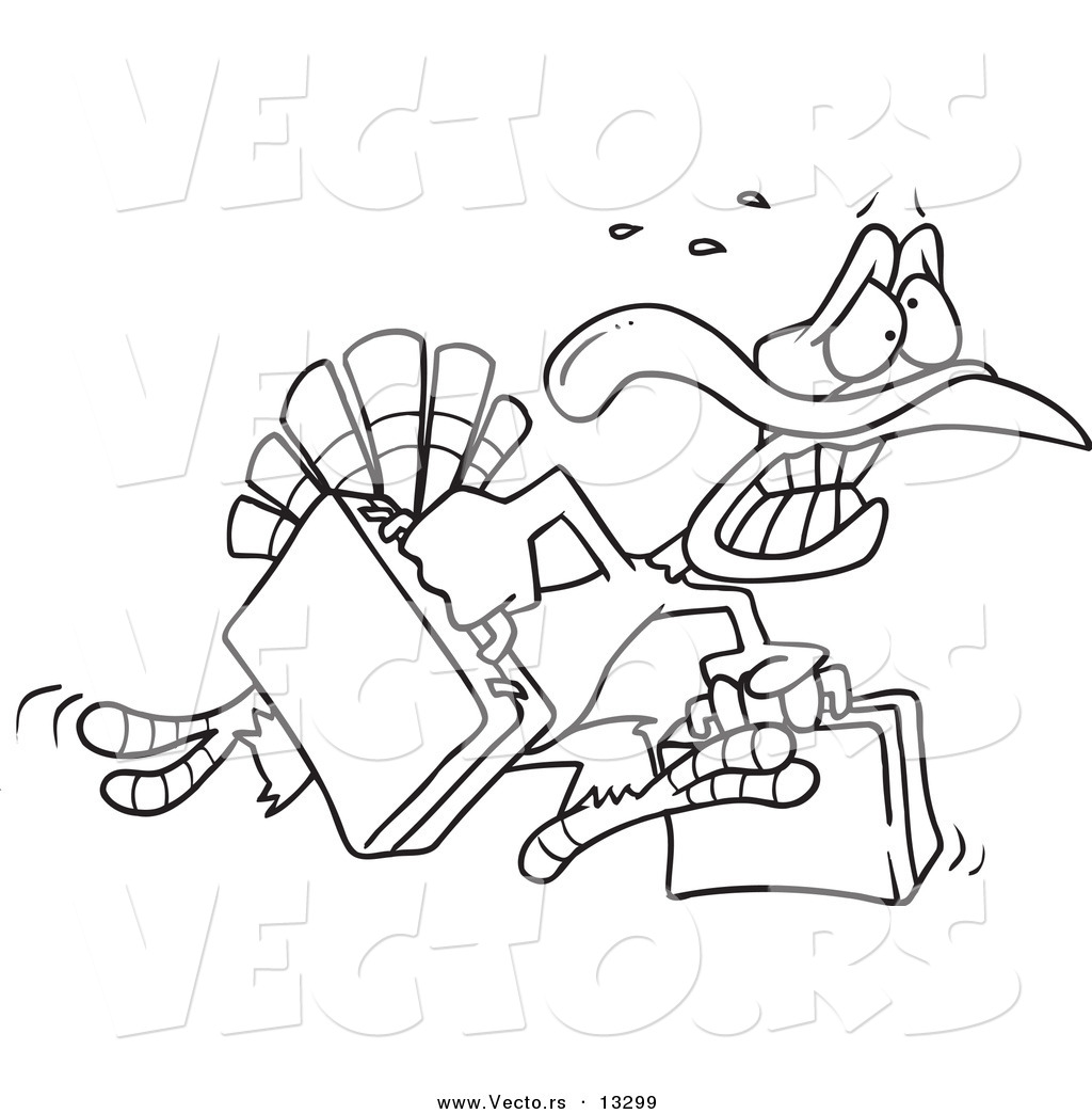 vector of a cartoon turkey bird running in panic with luggage