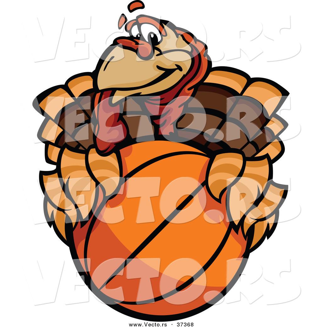 vector of a cartoon turkey mascot holding a basketballchromaco