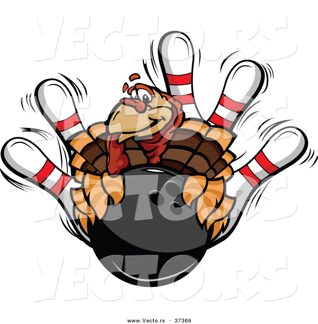 vector of a cartoon turkey mascot with a bowling ball and pins by