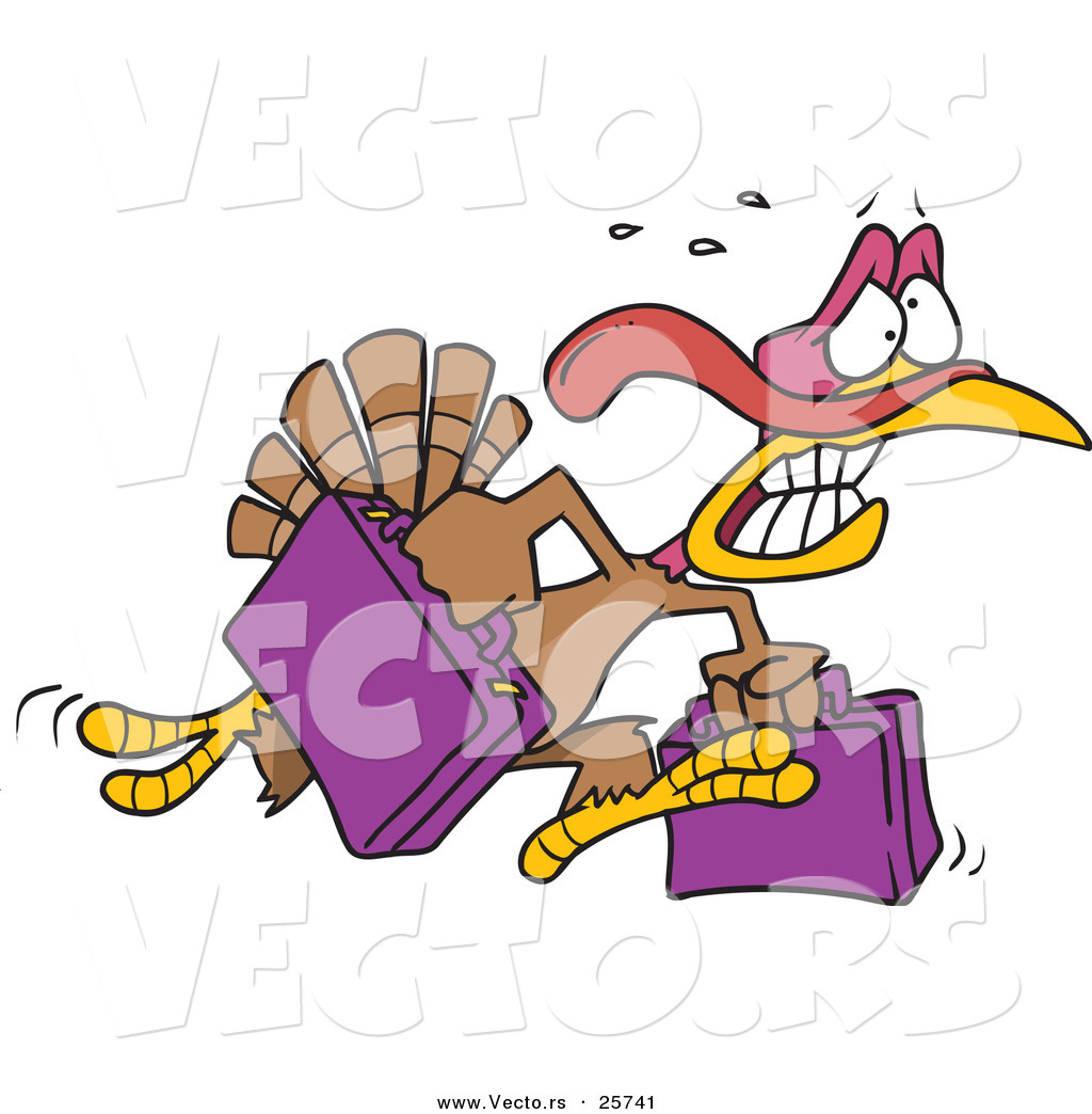 vector of a cartoon turkey running with luggage by toonaday 25741