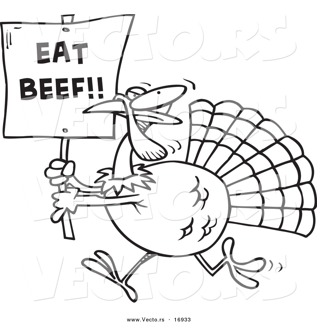 vector of a cartoon turkey with an eat beef sign coloring page