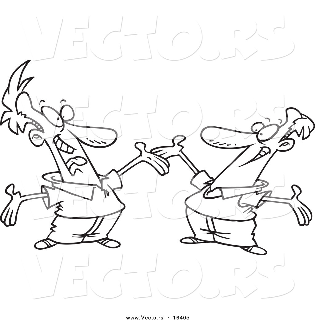 vector of a cartoon two happy men greeting each other