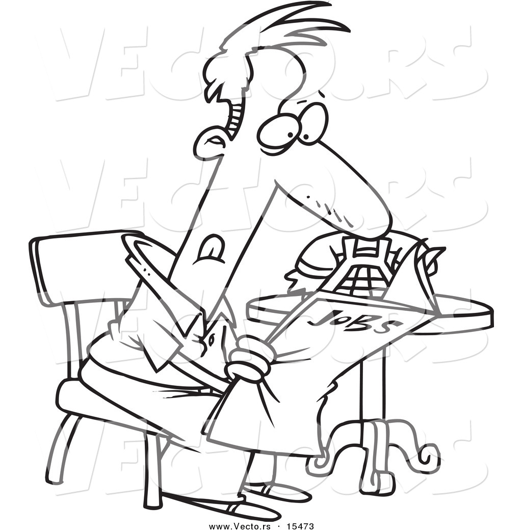 Coloring pages jobs - Vector Of A Cartoon Unemployed Man Searching For Jobs In The Newspaper Coloring Page Outline