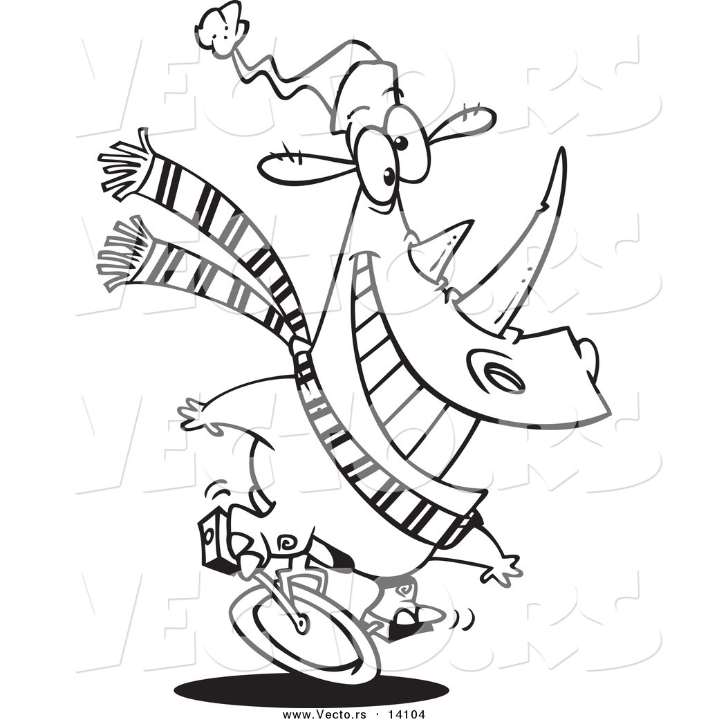 Line Art Unicycle : Vector of a cartoon unicycling christmas rhino coloring