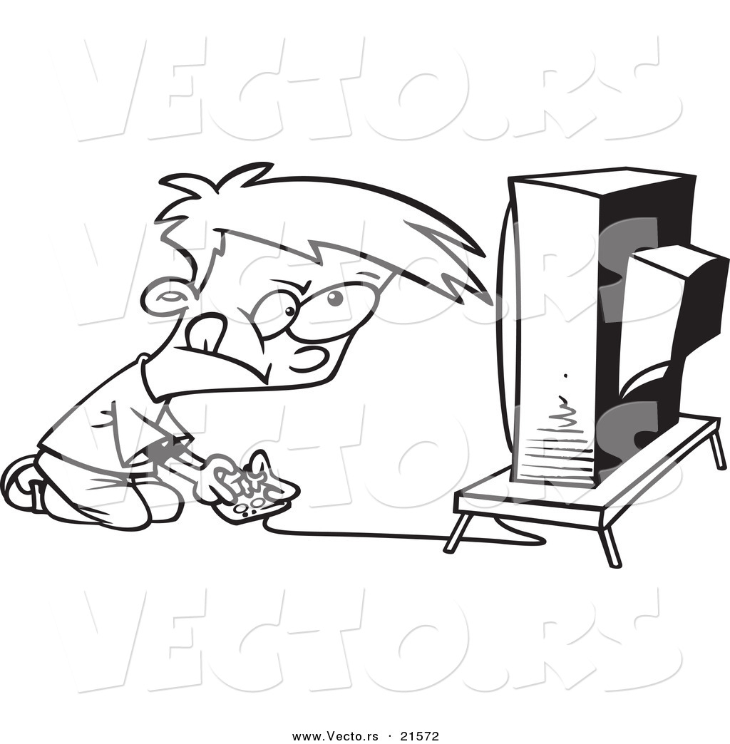 vector of a cartoon video game boy outlined coloring page by