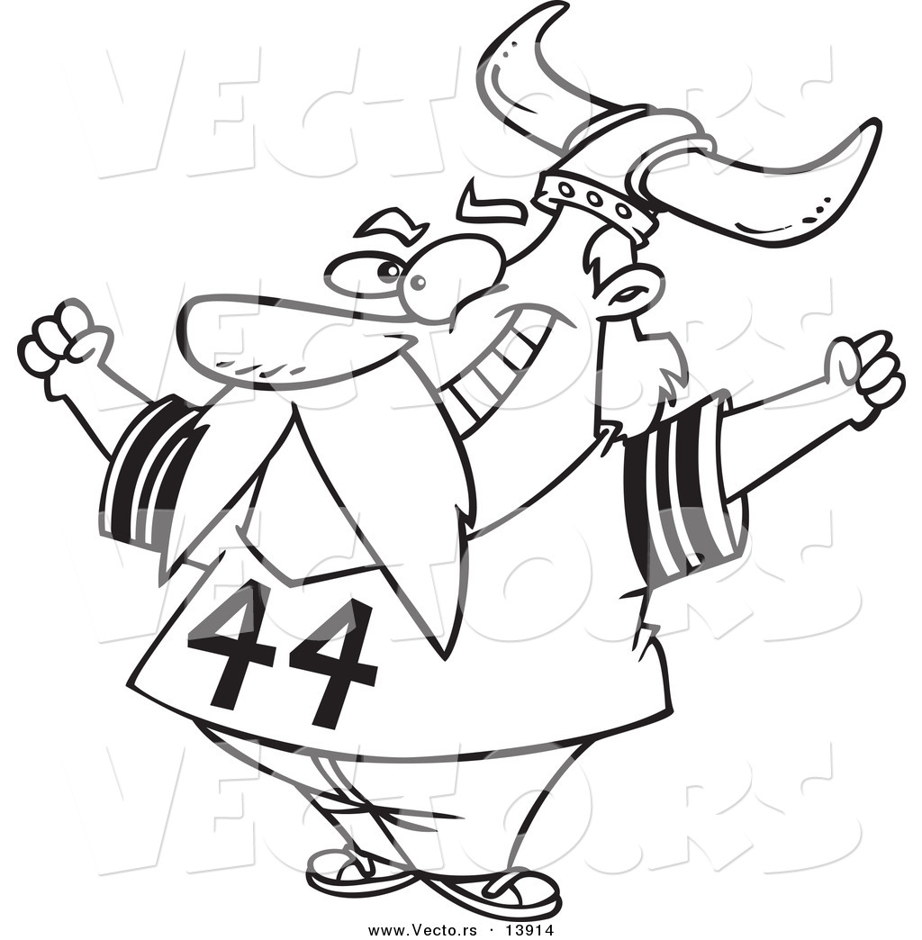 Coloring pages of viking images - Vector Of A Cartoon Viking Fan Wearing A Helmet And Cheering Coloring Page Outline