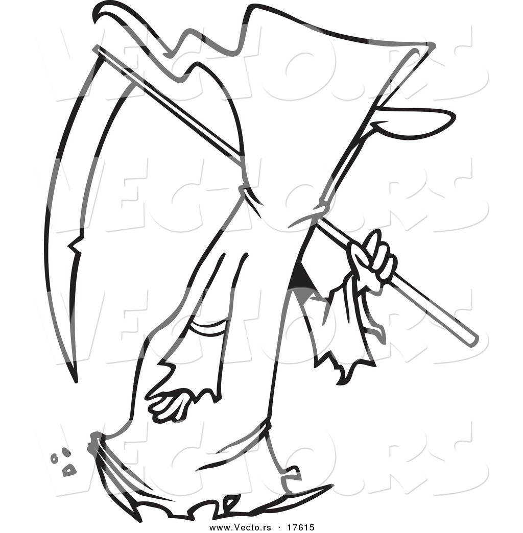 Vector of a Cartoon Walking Grim Reaper Coloring Page Outline by