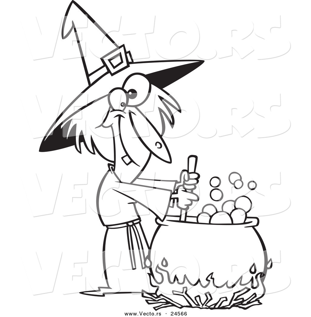 vector of a cartoon warted witch stirring her potion outlined