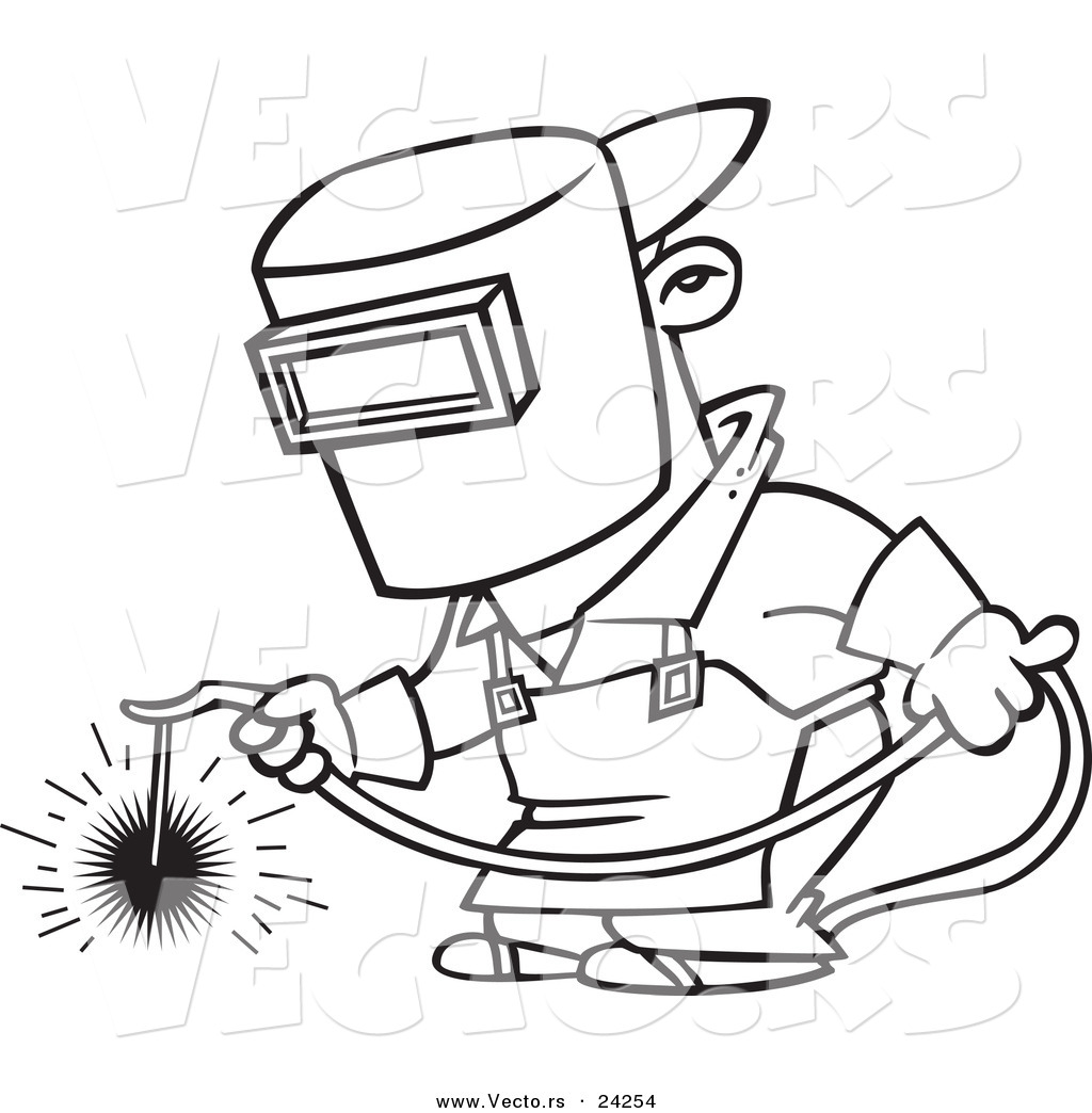 Vector Of A Cartoon Welder At Work Outlined Coloring