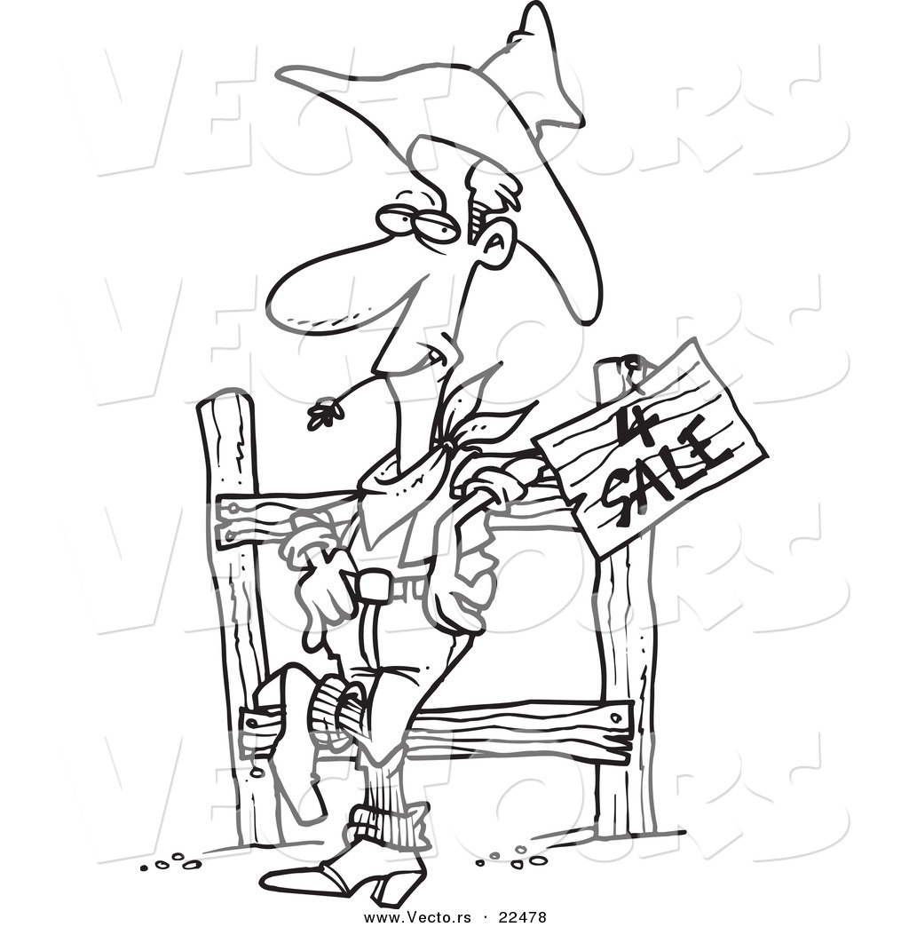 vector of a cartoon western cowboy selling property coloring