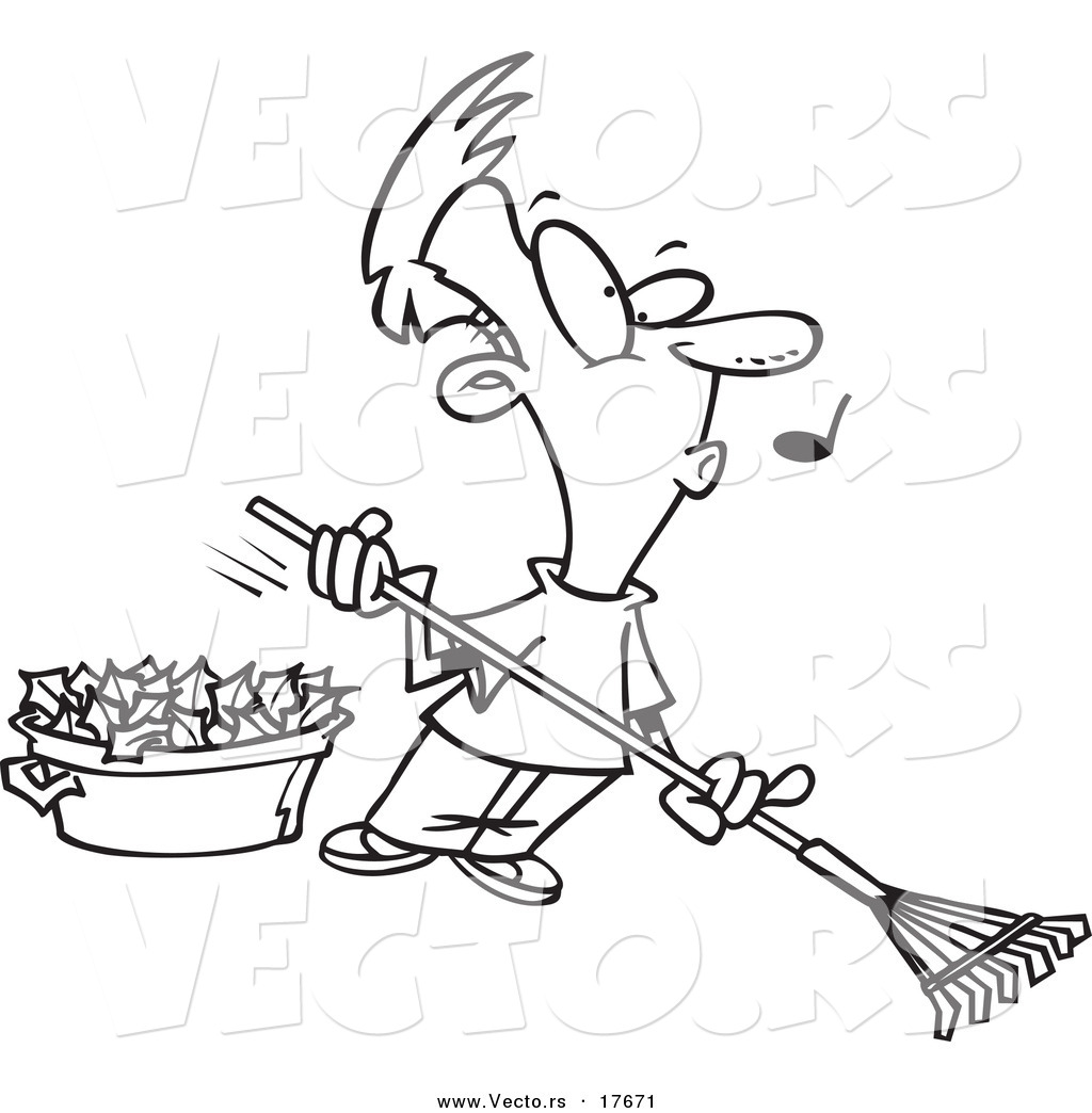 vector of a cartoon whistling man raking leaves coloring page