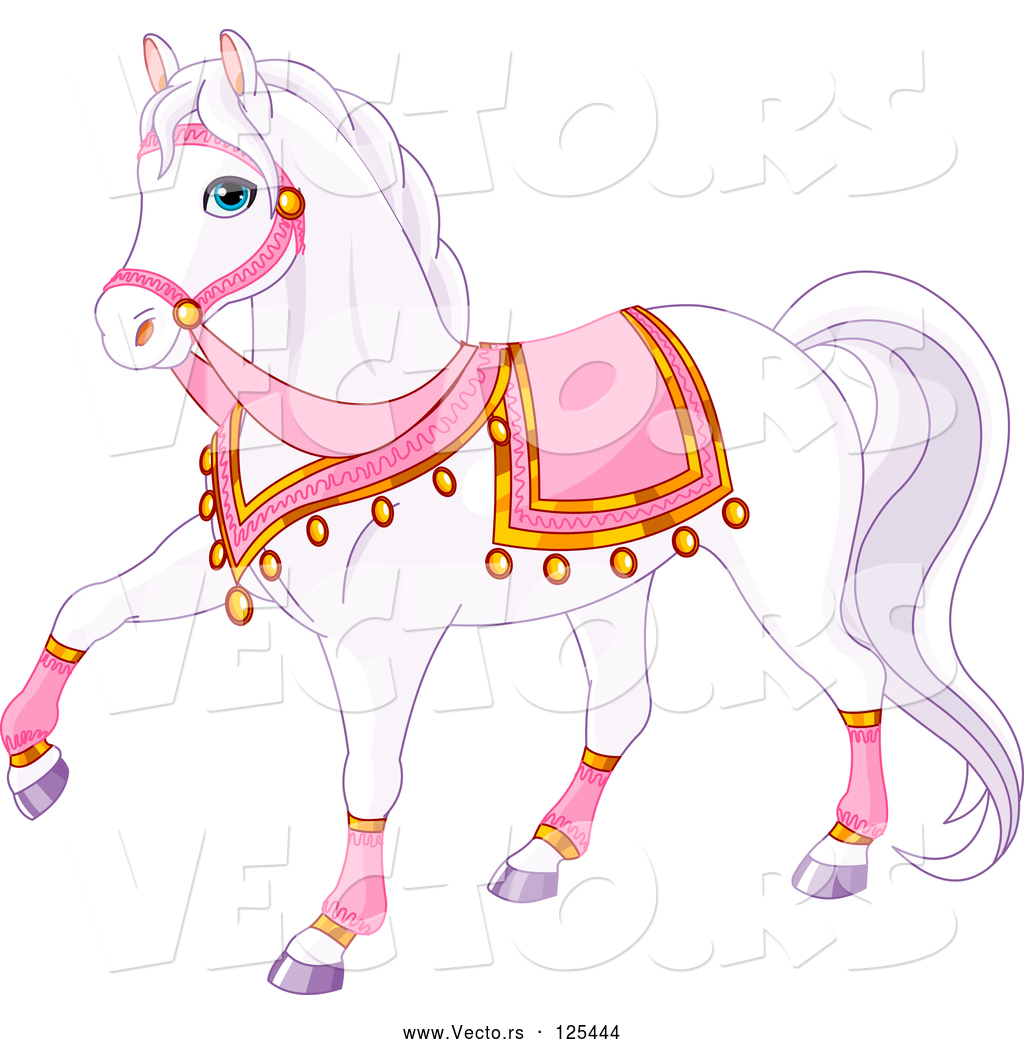Vector Of A Cartoon White Princess Horse With Pink Gear By Pushkin 125444