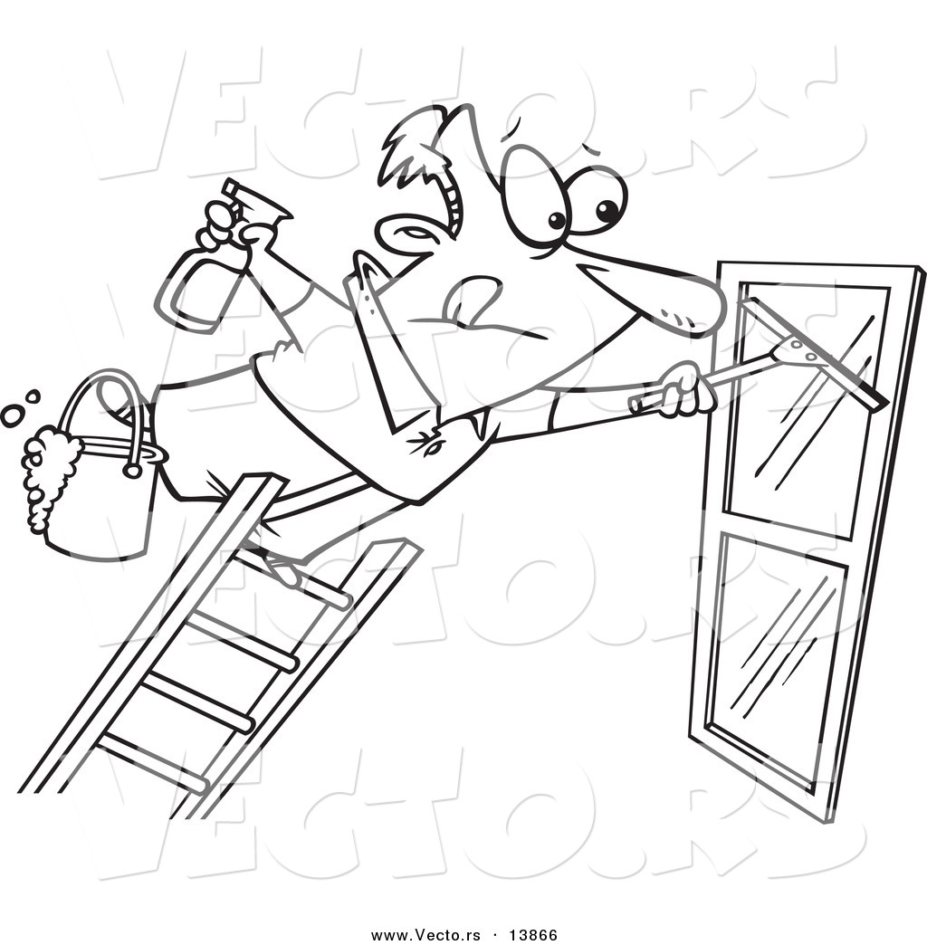 Vector Cartoon Window Cleaner Leaning Far Over