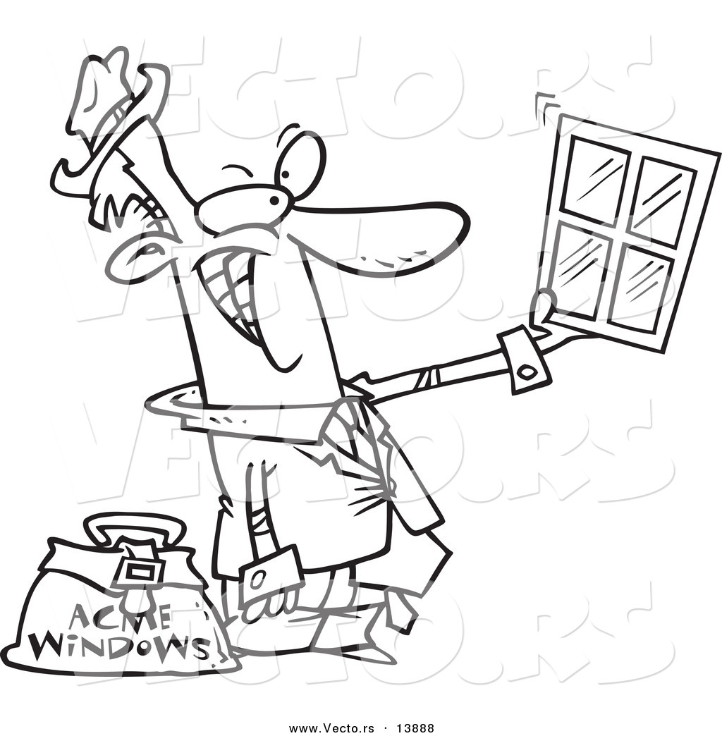Vector of a Cartoon Window Salesman Holding up a Window - Coloring ...
