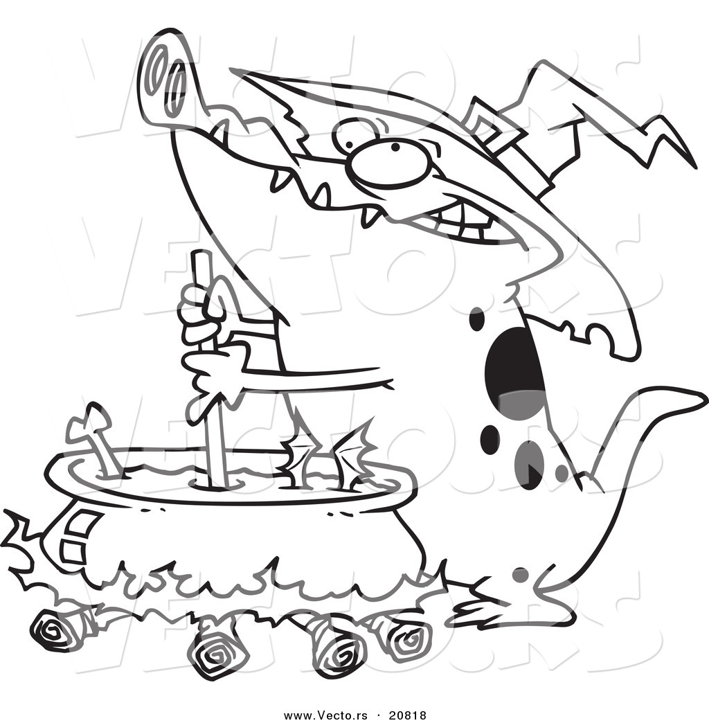 vector of a cartoon witch alligator sitrring a cauldron coloring page outline - Alligator Clip Art Coloring Pages