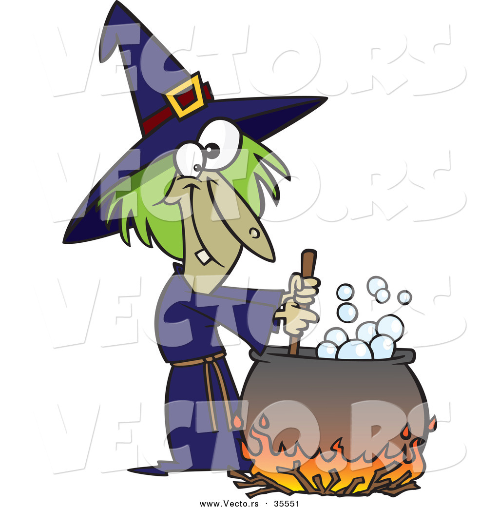 vector of a cartoon witch mixing potion in cauldron over a fire on halloween - Halloween Witch Cartoon