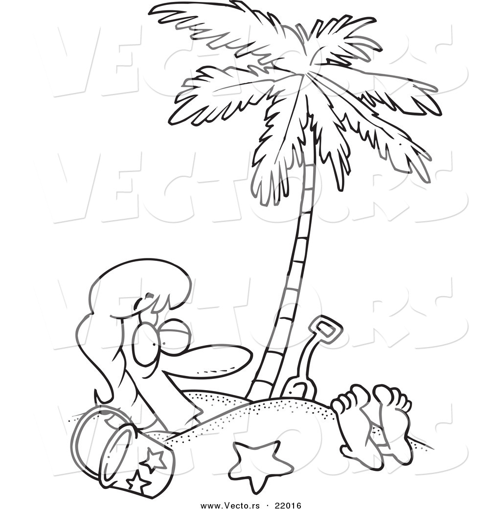 vector of a cartoon woman buried in sand under a palm tree outlined coloring page by - Palm Tree Beach Coloring Page
