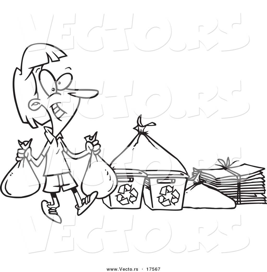 Vector of a Cartoon Woman Carrying Bags to a Recycle Center ...