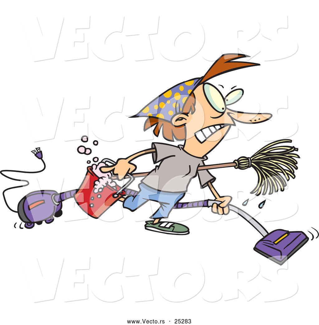 Vector of a Cartoon Woman Cleaning House Aggressively by ...