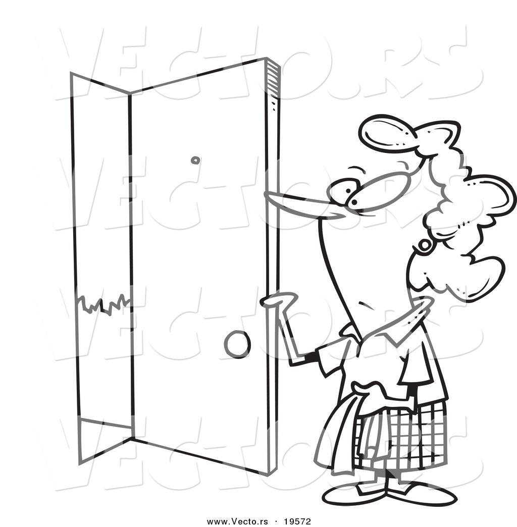 Vector Of A Cartoon Woman Opening Door
