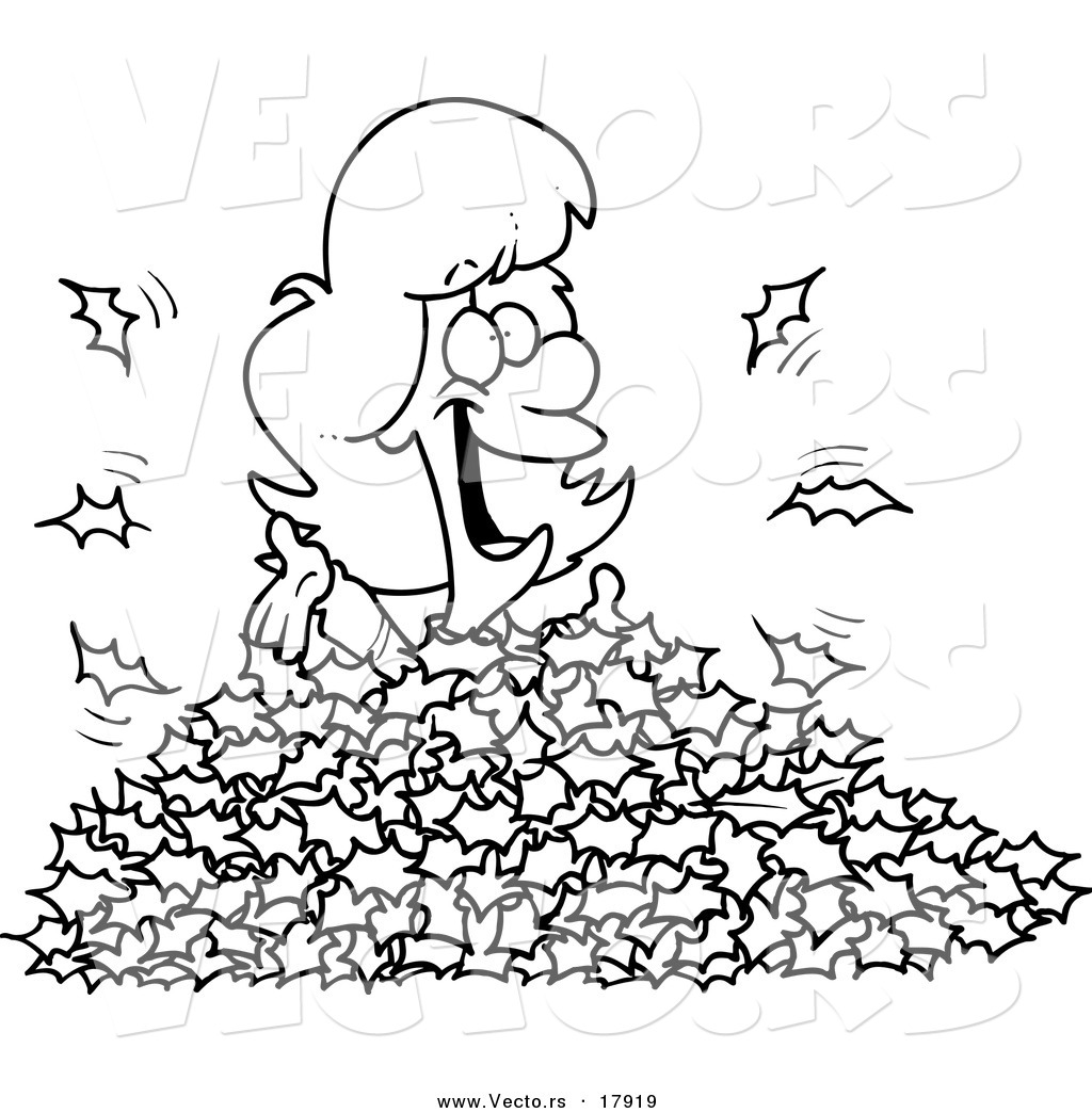 vector of a cartoon woman playing in leaves outlined coloring