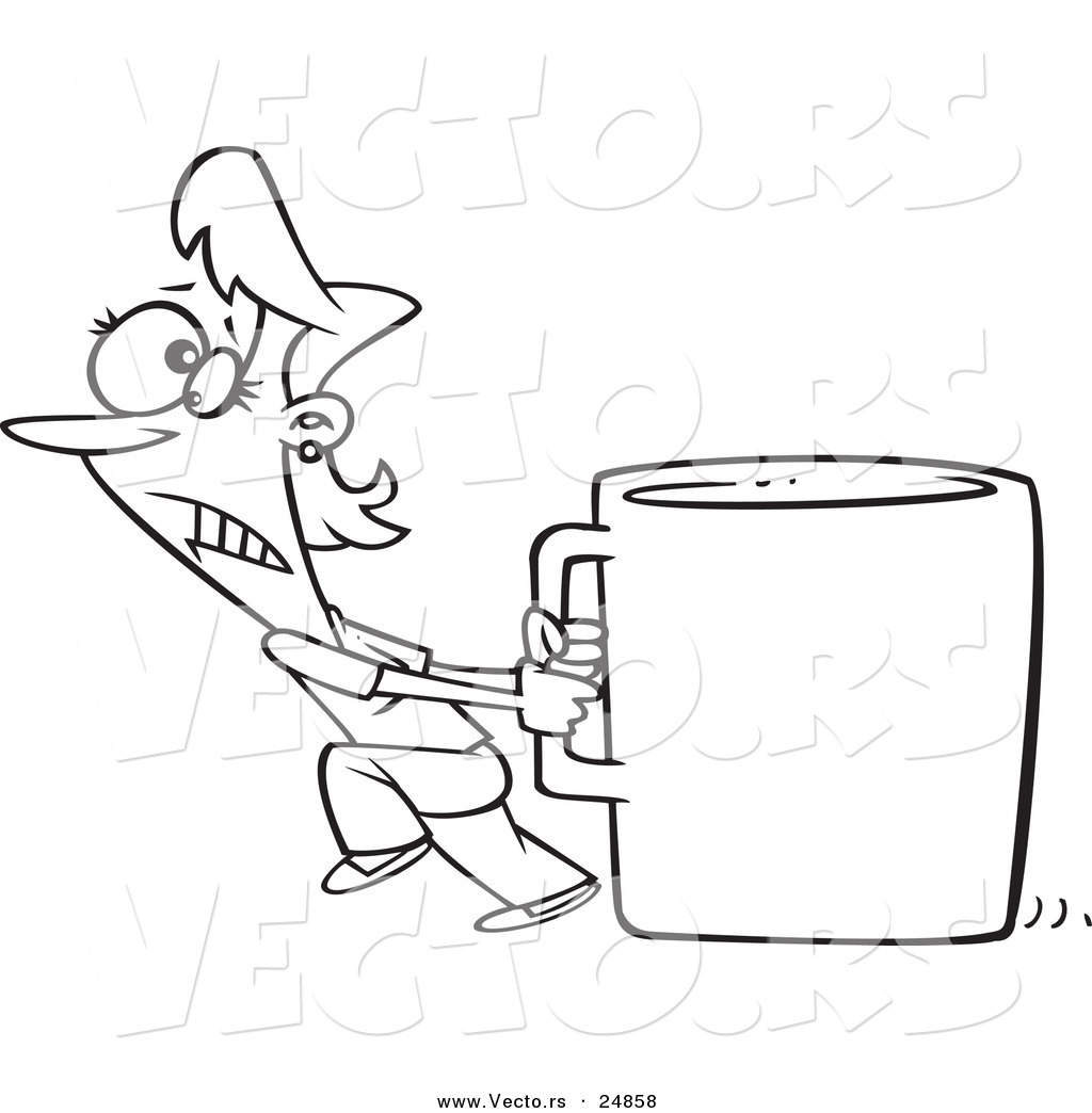 Vector Of A Cartoon Woman Pulling A Huge Coffee Cup