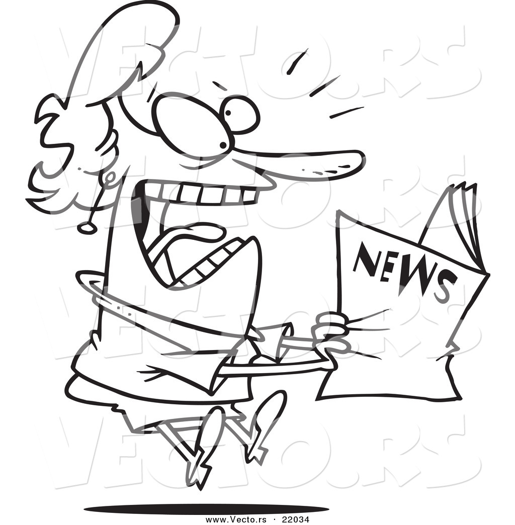 vector of a cartoon woman reading exciting news outlined coloring page by toonaday 22034. Black Bedroom Furniture Sets. Home Design Ideas