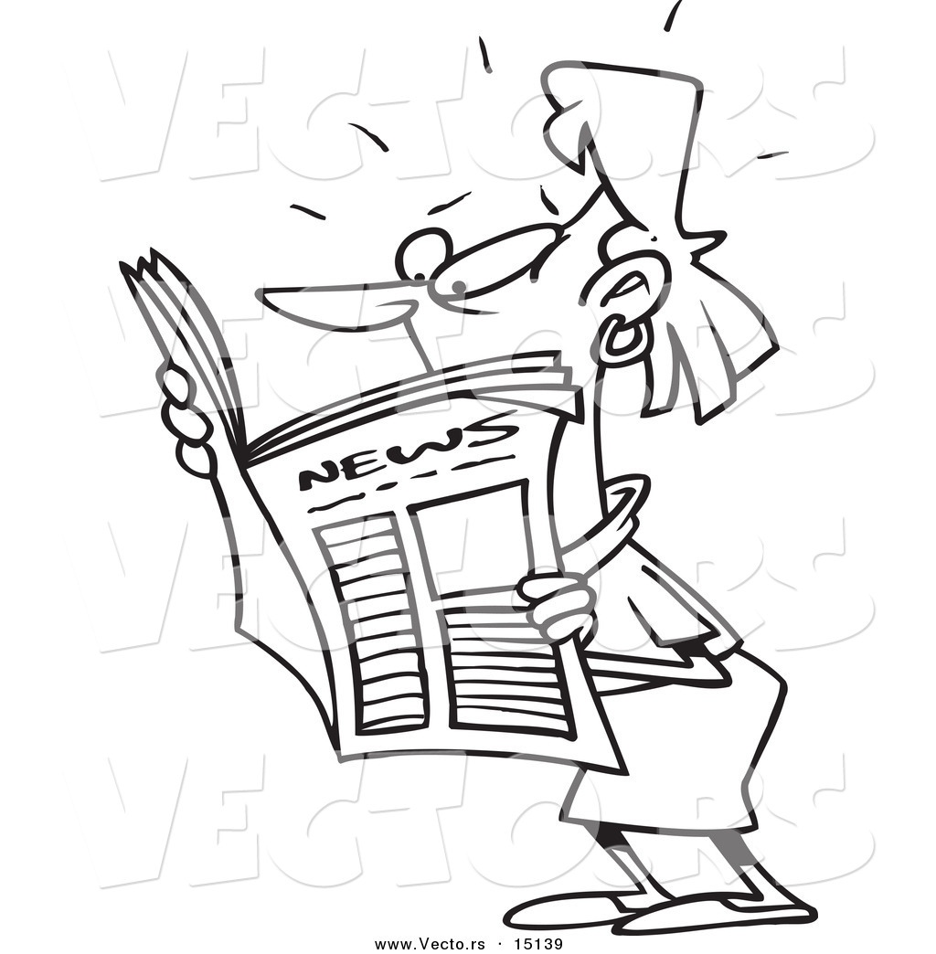vector of a cartoon woman reading shocking news coloring page