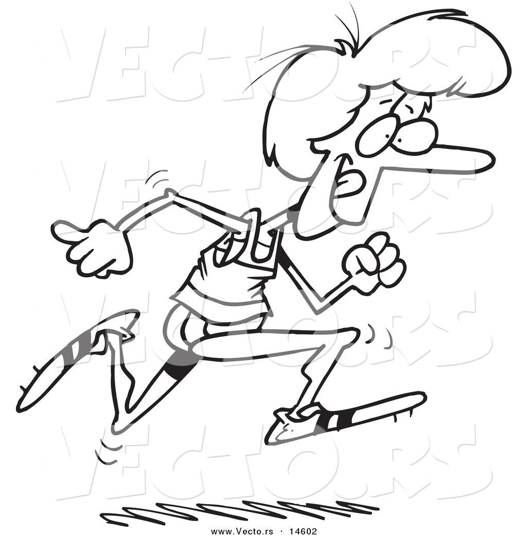 Vector Of A Cartoon Woman Running Track